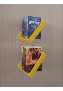 Prateleira Porta Livros Suporte Estante Nicho Decorativo 2 Peças Parede - Amarelo Laca