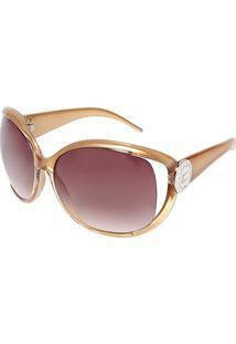 Óculos De Sol Arredondado - Dourado & Marromcarmim