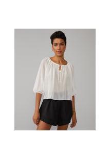 Amaro Feminino Blusa Decote Franzido Com Amarração, Off-White