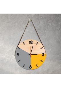 Relógio De Parede Decorativo Adnet Cinza E Amarelo Com Números Em Relevo Médio