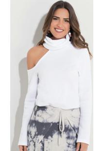 Blusa Com Gola Alta E Ombro Vazado Branca