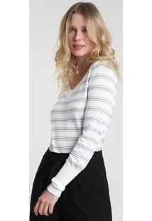 Suéter Feminino Listrado Em Tricô Decote V Off White