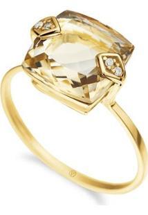 Anel Ouro Amarelo Diamante E Citrino Gold Retrô