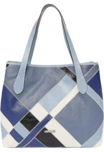 Bolsa De Couro Griffazzi Celeste Com Cores - Feminino-Azul Claro