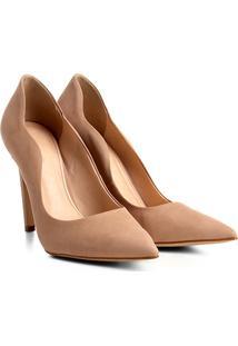 Scarpin Couro Shoestock Salto Alto Ondas - Feminino-Bege