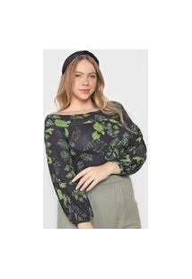 Blusa Colcci Ombro A Ombro Preta/Verde