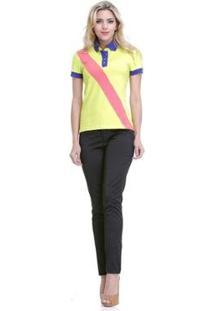 Blusa Clara Arruda Gola Polo 20160 - Feminino-Amarelo
