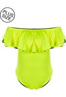 Body Outletdri Neon Plus Size Suplex Babado Detalhe Amarelo Neon