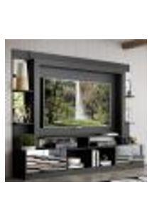 """Rack Estante Com Painel Tv 65"""" E Espelho Oslo Multimóveis Preto/Branco"""