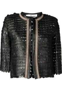 Caban Romantic Cropped Scalloped Pattern Jacket - Preto