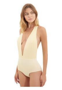 Body Rosa Chá Sun Linho Seda Amarelo Feminino Body Sun-Golden Fleece-Pp