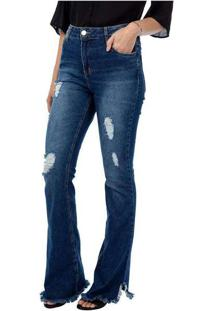 Calça Feminina Jeans Flare Azul