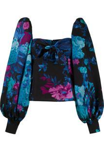 The Attico Blusa Floram Com Mangas Bufantes - Azul