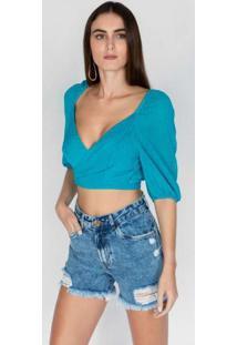 Blusa Cropped Com Transpasse Azul Azul
