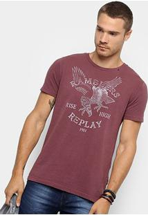 Camiseta Replay Ramblers Masculina - Masculino-Bordô