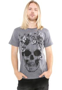 Camiseta Ride Skateboard Manga Curta Estampada Cinza