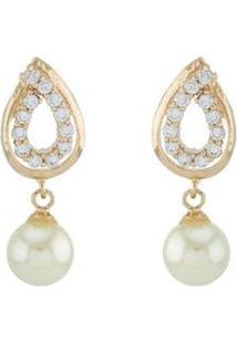 Brinco Barbara Strauss Cálcis Em Pérola Lalique E Zircônia Revestido Em Ouro 18K - Feminino-Dourado
