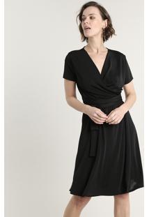 Vestido Feminino Curto Transpassado Com Faixa Para Amarrar Manga Curta Preto