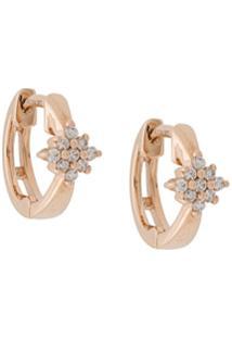 Dana Rebecca Par De Brincos Jennifer Yamina De Ouro Rosê 14K Com Diamante - Metálico