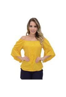 Blusa Mamorena Ombro A Ombro Aplicação Frente Amarelo