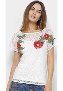 Camiseta Lança Perfume Renda Patches Feminina - Feminino