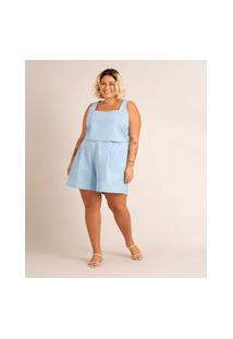 Short Plus Size Com Pregas Cintura Alta Azul Claro