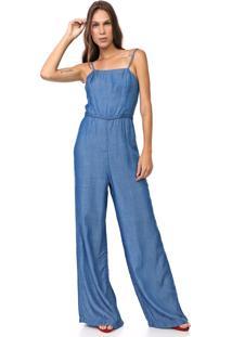 Macacão Jeans Carmim Pantalona Salvia Azul