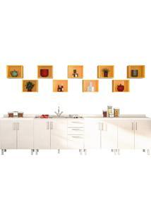 Cozinha Compacta Com 13 Peças Floripa 20-Politorno - Branco / Amarelo