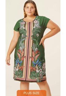 Vestido Verde Tropical Em Viscose Plus