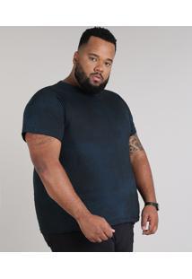 Camiseta Masculina Plus Size Estampada Manga Curta Gola Careca Azul Escuro