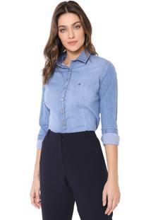 Camisa Jeans Dudalina Logo Azul