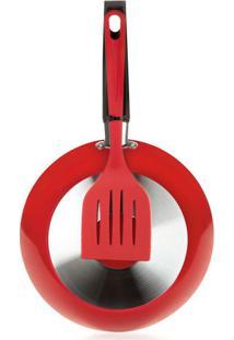 Frigideira Multiflon 22Cm Com Espátula Antiaderente Vermelha Unica