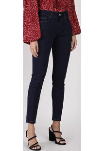 Calça Jeans Feminina Super Skinny Cintura Média Azul Escuro