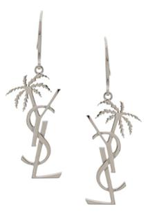 Saint Laurent Monogram And Palm Tree Pendant Earring - Prateado