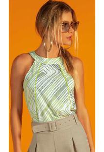 Blusa Estampada Com Recorte Verde