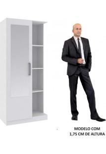 Armário Multiuso Com Espelho 1 Porta 7 Prateleiras Classic Rodial Branco