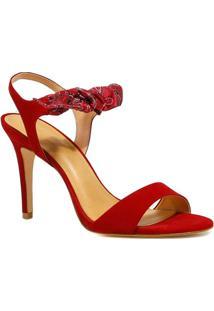 Sandália Zariff Shoes Salto Nobuck Lenço - Feminino-Vermelho