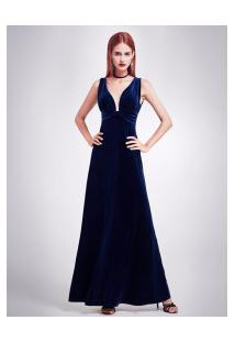 Vestido Longo Elegante Sexy Design Veludo Molhado - Azul Escuro