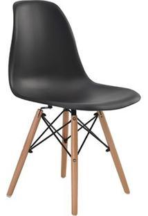 Cadeira Eames Eiffel Rivatti Sem Braço Pp Base Madeira Preto
