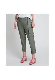Calça Feminina Clochard Cintura Alta Com Faixa Para Amarrar Verde Militar