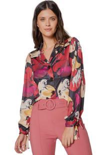 Amaro Feminino Camisa Manga Ampla Com Amarração, Camo Horses Vermelho