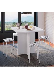 Conjunto De Mesa De Cozinha Com 4 Lugares Verona I Corino Branco E Preto