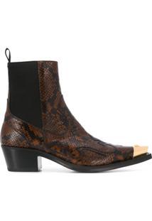 Versace Ankle Boot Cowboy Com Efeito Pele De Píton - Marrom