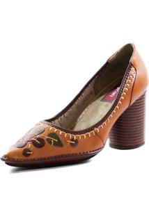 Sapato Couro J. Gean Vintage Retrô Bordados Caramelo