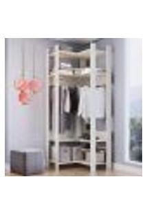 Closet Aberto Canto Com Prateleiras E Cabide Off White Lilies Móveis