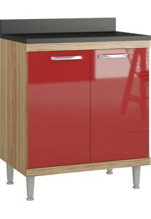 Balcão 700Mm 5122 Sicília - Multimóveis - Argila Acetinado / Vermelho Scarlet