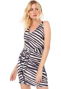 Vestido Lança Perfume Curto Zebra Preto/Branco