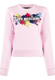 Love Moschino Logo Print Sweatshirt - Rosa