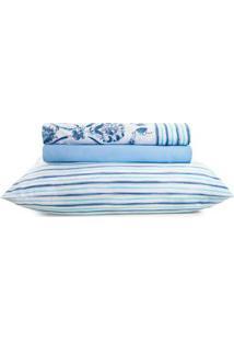 Jogo De Lençol Casal Duplo Santista Royal Plus Azul/Branco