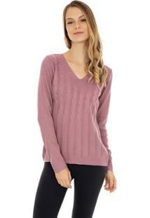 Blusa Pink Tricot Trançada E Decote V Feminina - Feminino